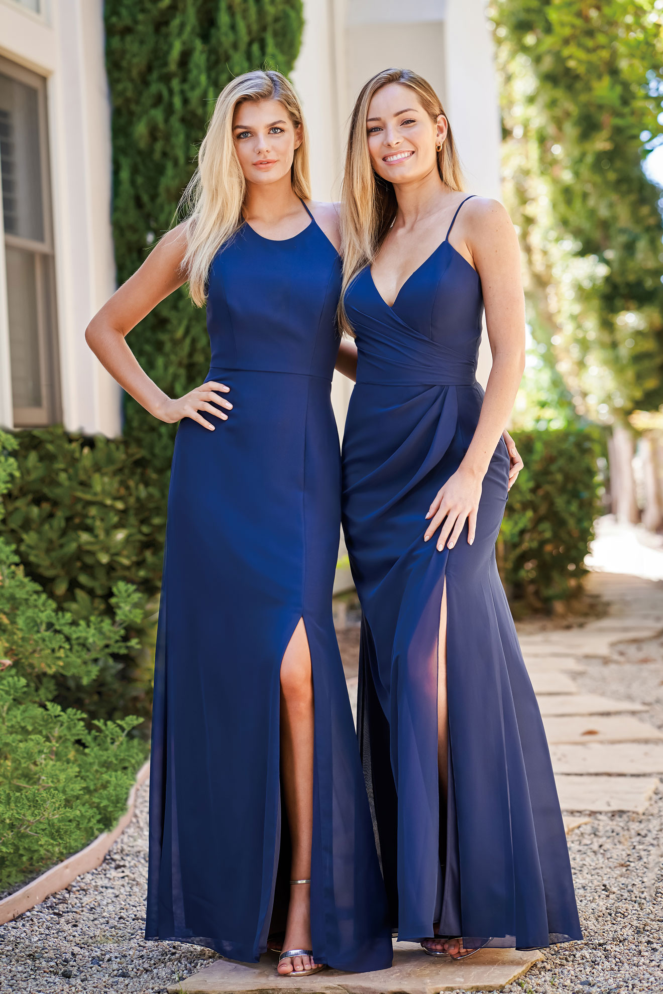 Jasmine Bridesmaids - Simple Chiffon Gowns with a Side Slit